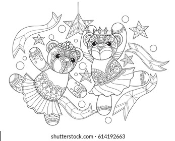 Prince and princess Teddy bears dancing. Zentangle stylized cartoon isolated on white background. Hand drawn sketch illustration for adult coloring book, zentangle design elements.