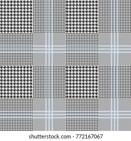 Prince of Wales check, classic black and white with triple blue overcheck. Glen plaid pattern. Seamless vector print.