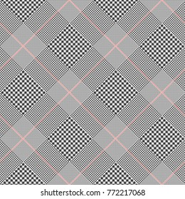 Prince of Wales check in classic black and white with red overcheck. Glen plaid. Seamless vector print.