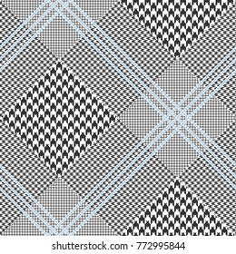 Prince of Wales check in classic black and white with triple blue overcheck. Glen plaid. Diagonal pattern. Seamless fabric texture print.
