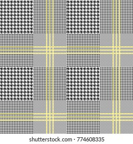 Prince of Wales check in classic black and white with triple yellow overcheck . Glen plaid pattern. Seamless vector texture.