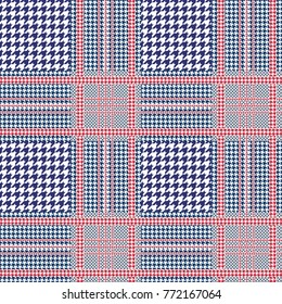 Prince of Wales check in navy blue and white with red overcheck. Glen plaid pattern. Seamless vector print.