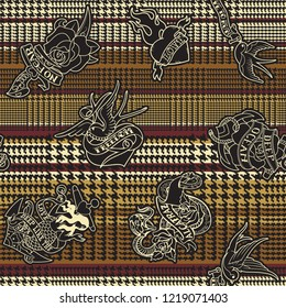 Prince of wales fabric with tattoos  old school abstract glen plaid vector seamless pattern wallpaper