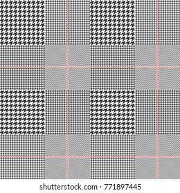 Prince of Wales / glen plaid patten in classic black and white with red overcheck. Seamless fabric texture.