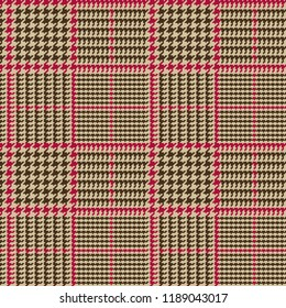 Prince of Wales Style Glen Plaid Vector Pattern in Brown and Beige with Red Overcheck Stripes. Trendy Classic High Fashion Print. 8x8 Check Houndstooth. Pixel Perfect Seamless Tile Swatch Incl.