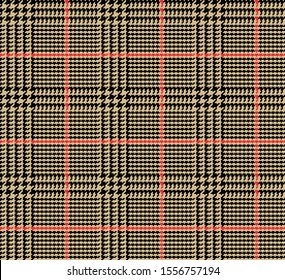 Prince of Wales Style Glen Plaid in Tan and Black with Red Overcheck Stripes. 4x3 Houndstooth. Seamless Vector Pattern. Classic Scottish Fabric. Pixel Pattern Tile Swatch Included.