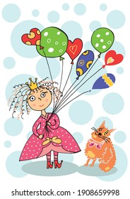 Princess with balloons and a cat. Vector illustration in cartoon style. Valentine's Day card. Bright vector for a festive mood