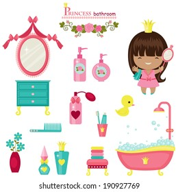 Princess bathroom collection. Isolated cute vector icons over white background