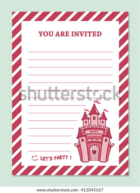 Princess Birthday Party Invitation Card Template Stock