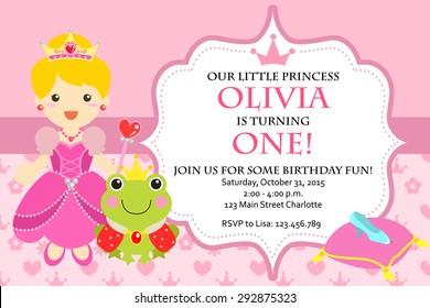 Princess Birthday Party Invitation Vector