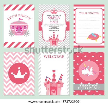 princess birthday party invitation vector template stock vector