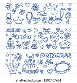 Princess birthday party for little girls. Kindergarten, school children picture. Illustration for children with castle, fairy, dress, crown.
