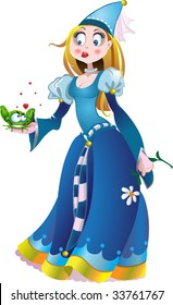 princess in blue with frog