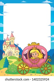 Princess in carriage theme frame 1 - eps10 vector illustration.