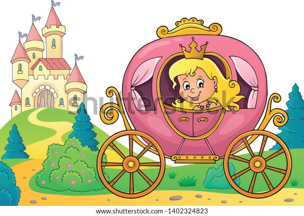 Princess in carriage theme image 3 - eps10 vector illustration.
