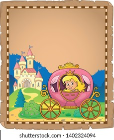 Princess in carriage theme parchment 2 - eps10 vector illustration.
