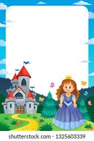Princess and castle composition frame 2 - eps10 vector illustration.