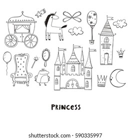 Princess castle cute illustration. Coloring page