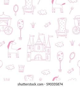 Princess castle cute illustration. seamless pattern