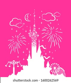 Princess Castle. Fantasy pink palace on the background of fireworks and stars. Fairytale Royal Medieval Paradise Palace. Cartoon vector illustration.