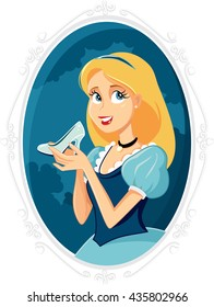 Princess Cinderella Holding Magic Shoe Vector Cartoon - llustration of a beautiful maiden with crystal slipper shoe