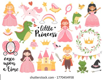 Princess collection with golden crown, castle, dragon and frog. Hand drawn childish illustration.