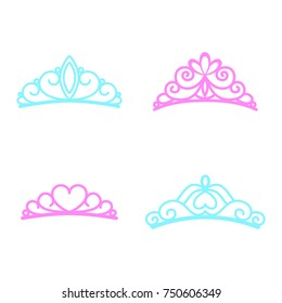 Princess crown. Diadem princess. Crown icons. Vector illustration. Silhouettes. Flat style.
