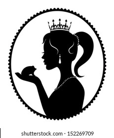 princess crown holding in the palm of a frog