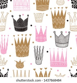 Princess crown. Kids vector seamless pattern. Can be used in textile industry, paper, background, scrapbooking.