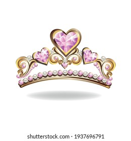 Princess crown or tiara with pearls and pink gems in the shape of a heart vector illustration isolated on white background.