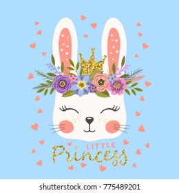 Princess. Cute bunny with crown and floral wreath