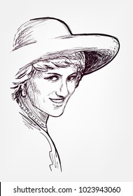 princess diana vector sketch illustration