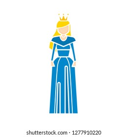 princess dress icon. princess icon - princess isolate, fairytale queen illustration - Vector princess