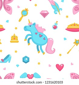 Princess with fairy elements, unicorn and magic wand seamless pattern isolated on white background vector. Girl wearing crown, shoes of cinderella, potion perfume in glass bottle, mirror and hearts