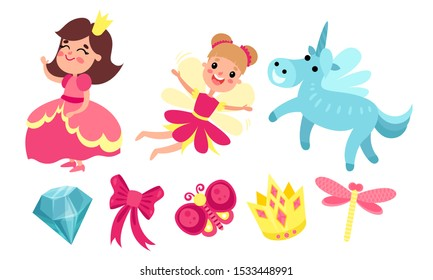 Princess, fairy, unicorn and magic items. Vector illustration.