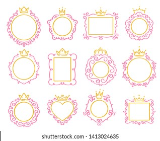 Princess frame. Cute crown border, royal mirror frames and majestic prince doodle borders isolated vector set