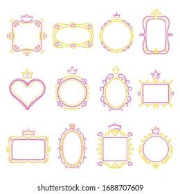 Princess frame set, borders for paper, frame design. Beauty and romantic ornament. Vector princess frame illustration on white background