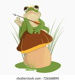 The princess frog. Russian folktale.Children's book.A frog holds an arrow, a crown on its head. Waiting for the prince.He lies on the mushroom's hat, looks thoughtfully at the sky.Vector illustration