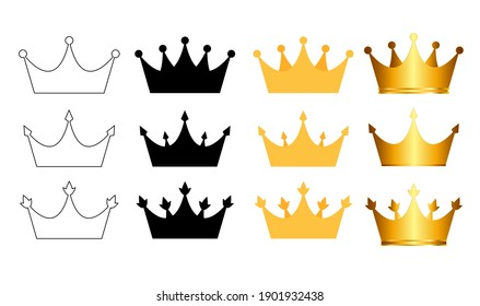 Princess Golden and Black Crown Icon Collection Set Isolated on white Background Vector Illustration