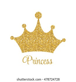 Princess Golden Glossy Background with Crown Vector Illustration EPS10