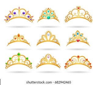 Princess golden tiaras with diamonds isolated on white background. Gold girls crowns vector illustration