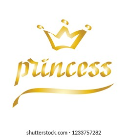 Princess, The hand lettering of a flat brush. Vector illustration.