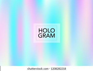 Princess Hologram Neon Vector Background. Bright Trendy Tender Pearlescent Color Overlay. Cool Funky Holographic Princess, Fairytale, Cute Girlie Texture. Unicorn Magic Funky Teal, Hologram Gradient