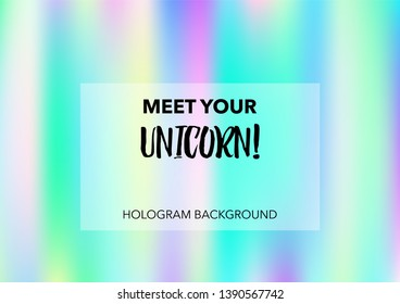 Princess Hologram Neon Vector Background. Luxury Trendy Tender Pearlescent Color Overlay. Rainbow Holographic Princess, Fairytale, Cute Girlie Paper. Unicorn Fairy Tale Neon Hologram Gradient