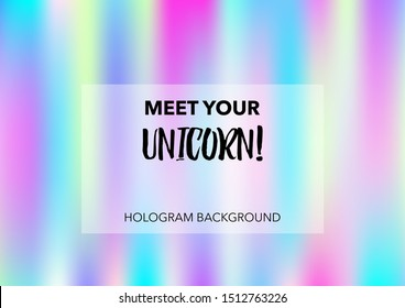 Princess Hologram Neon Vector Background. Luxury Trendy Tender Pearlescent Color Overlay. Cool Funky Holographic Princess, Fairytale, Cute Girlie Texture. Unicorn Fairy Tale Glitch Hologram Gradient