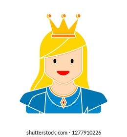 princess icon - princess isolate, fairytale queen illustration - Vector princess