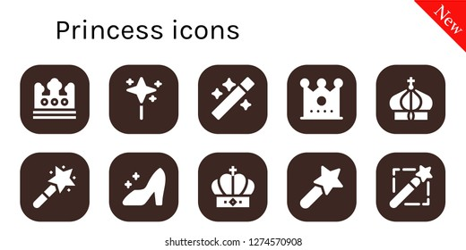 princess icon set. 10 filled princess icons. Simple modern icons about  - Crown, Wand, Magic wand, Cinderella