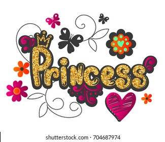 Princess illustration with heart, decorative flowers, butterfly. Gold glitter textureon text. Colorful girlish illusion. floral motives. royal style