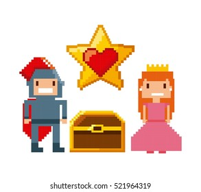 princess and knight characters and treasure over white background. videogame interface concept. colorful design. vector illustration