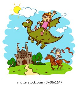 Princess, knight, horse, rider, dragon, castle, fairy tale